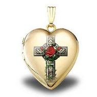 14K Yellow Gold  Celtic Cross With Rose   Sweetheart Locket