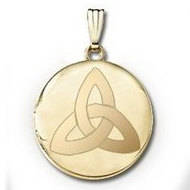 "14k Yellow Gold Round ""Celtic Knot""  Picture Locket"