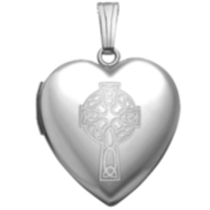 14k White Gold  Sweetheart  Celtic Cross Locket