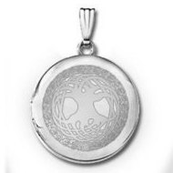 14k White Gold Round Tree of Life Locket