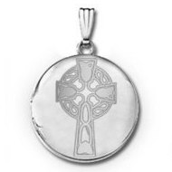 14k White Gold Round Celtic Cross Locket