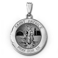 14k White Gold Round St. Patrick Locket
