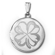 14k White Gold Round 4 Leaf Clover Locket