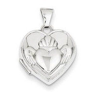 Solid 14K Claddagh White Gold Heart Locket