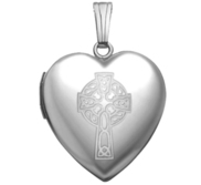 Sterling Silver   Sweetheart  Celtic Cross Locket