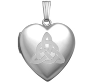 Sterling Silver   Sweetheart  Celtic Trinity Locket