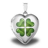 "Sterling Silver  ""Green Four Leaf Clover""  Heart Locket"