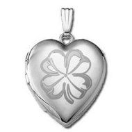 Sterling Silver   Sweetheart  4 Leaf Clover Heart Locket