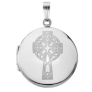 Sterling Silver Round Celtic Cross Picture Locket