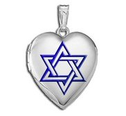Sterling Silver   Star of David  w  Blue Enamel Heart Locket