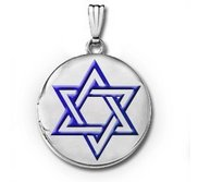 14k White Gold  Star of David   w  Blue Enamel Round Locket