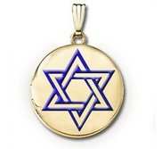 14k Yellow Gold Round  Star of David w  Blue Enamel   Picture Locket