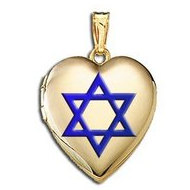 14K Yellow Gold   Star of David  w  Blue Enamel Sweetheart Locket