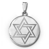14k White Gold  Star of David  Round Locket