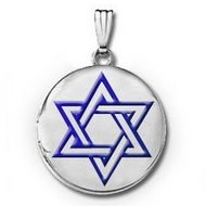 Sterling Silver Round  Star of David  w  Blue Enamel Picture Locket