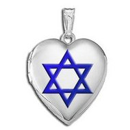 14k White Gold  Star of David   w  Blue Enamel Sweetheart Locket