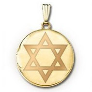 14k Yellow Gold Round  Star of David   Picture Locket