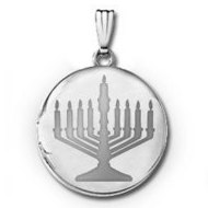 14k White Gold  Menorah  Round Locket