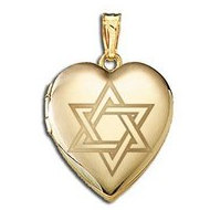 14K Yellow Gold   Star of David  Sweetheart Locket