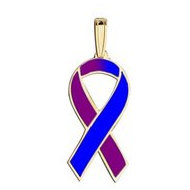 Awareness Ribbon Purple   Blue Color Charm