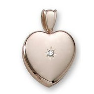 18k Premium Weight Yellow Gold Heart Picture Locket w  5pt  Diamond