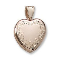 18k Premium Weight Hand Engraved Yellow Gold Heart Picture Locket