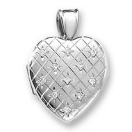 18k Premium Weight White Gold Hand Engraved Heart Diamond Locket