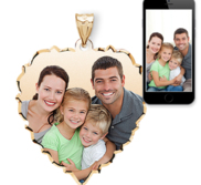 Large Scalloped Heart with Dia  Cut Edge Photo Pendant Picture Charm