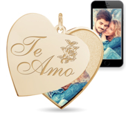 Te Amo   I Love You in Spanish  Heart Swivel Photo Pendant