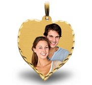 Large Heart w  diamond cut edge Photo Pendant Picture Charm
