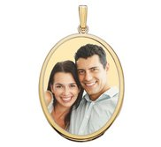 Large Oval with Bezel Frame Photo Pendant Picture Charm