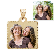 Square Pendant with Diamond Cut Edge Photo Pendant Picture Charm