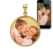 Round Bezel Frame Photo Engraved Pendant