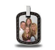 Stainless Steel Photo Dog Tag Photo Pendant W  Carbon Fiber Finish