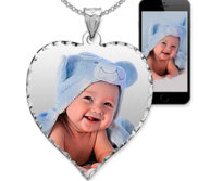 Medium Heart Photo Pendant Charm with Diamond Cut Edge