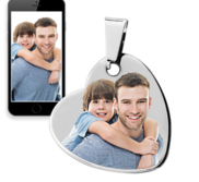 Photo Engraveable Stainless Steel Dangle Heart