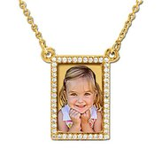 Rectangle Diamond Photo Pendant with Cable Chain