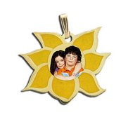 Exclusive Flower Enameled Photo Pendant