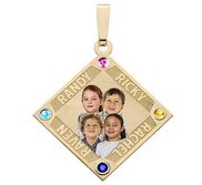 Diamond Shaped Pendant w  4 Names and 4 Birthstones