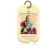 Dog Tag W  Name Cut  and Birthstone Photo Pendant Picture Charm