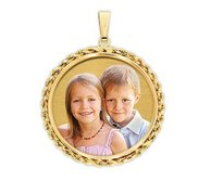 Large Round with Rope Frame Photo Pendant