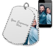 Sterling Silver Dog Tag Swivel Photo Pendant