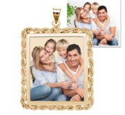 Square with Rope Frame Photo Pendant Picture Charm