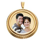 Yellow Gold Snake Round Rope Photo Pendant