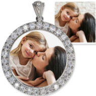 Sterling Silver & CZ Premium Round Photo Pendant