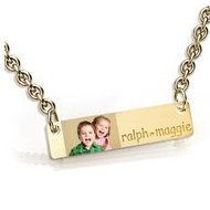Personalized Thin Sideways Rectangle Pendant Photo Pendant