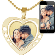 Heart Photo Pendant Charm w  Heart Cut Outs