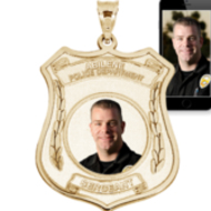 Police Badge Photo Pendant Picture Charm with Name and Number