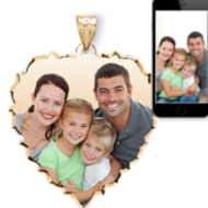Large Scalloped Heart with Dia. Cut Edge Photo Pendant Picture Charm