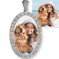 Sterling Silver   CZ Premium Oval Photo Pendant